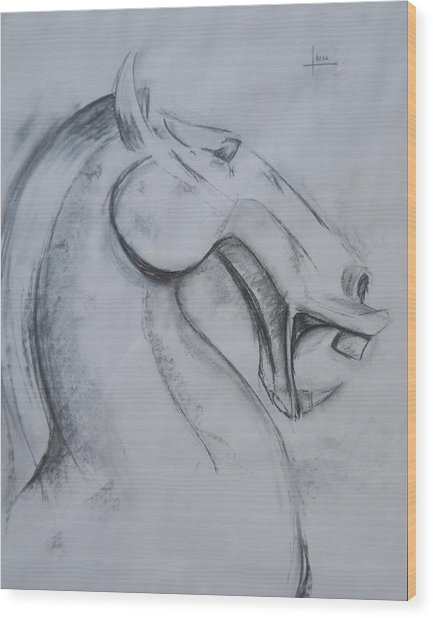 Horse Face Wood Print by Victor Amor