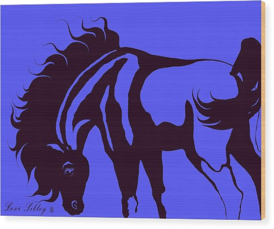 Horse In Blue And Black Wood Print