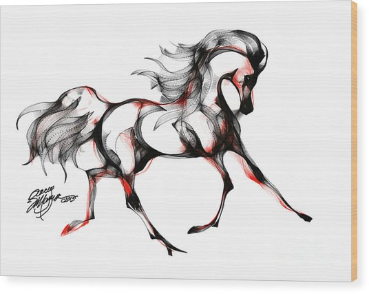 Horse In Extended Trot Wood Print
