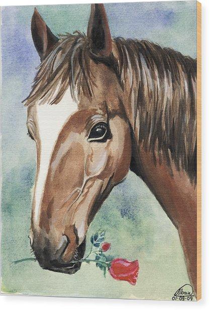 Horse In Love Wood Print