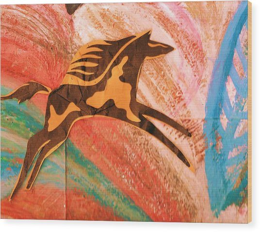 Horse Jumping Over Colors Wood Print by Anne-Elizabeth Whiteway