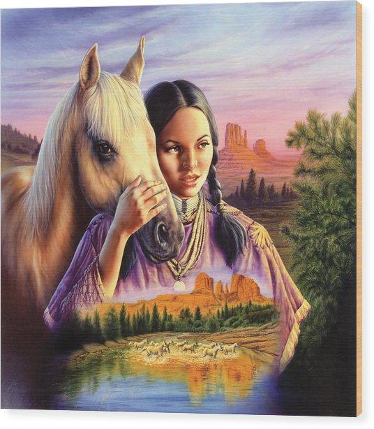Horse Maiden Wood Print