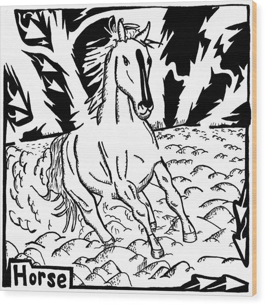 Horse Maze Wood Print by Yonatan Frimer Maze Artist