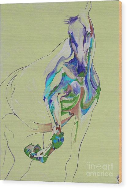 Horse Painting 675k Wood Print by Yaani Art