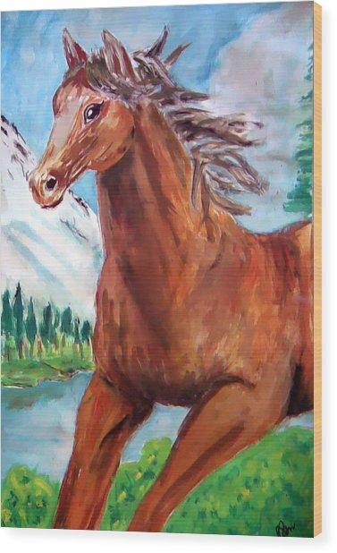 Horse Painting Wood Print by Bekim Axhami