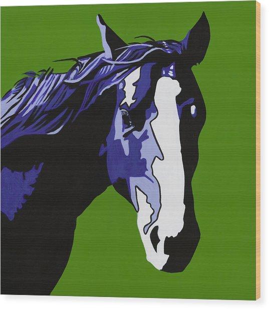 Horse Play Blue Wood Print by Sonja Olson