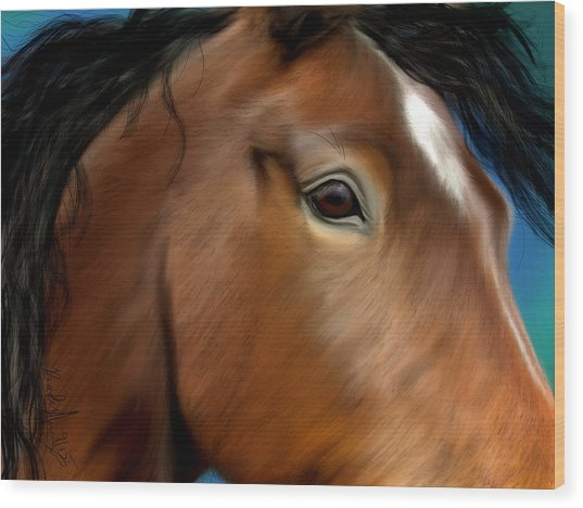 Horse Portrait Close Up Wood Print