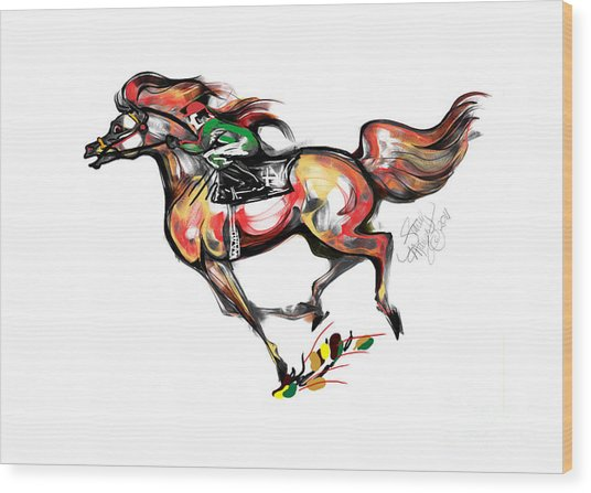 Horse Racing In Fast Colors Wood Print