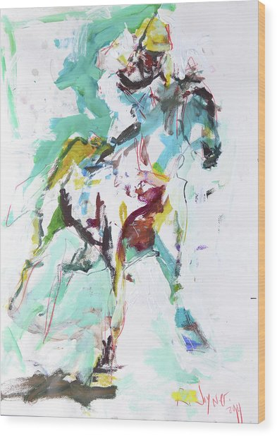 Horse Racing Painting Wood Print