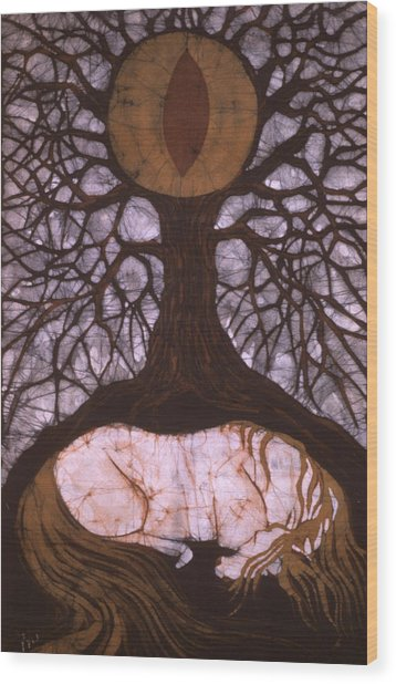 Horse Sleeps Below Tree Of Rebirth Wood Print