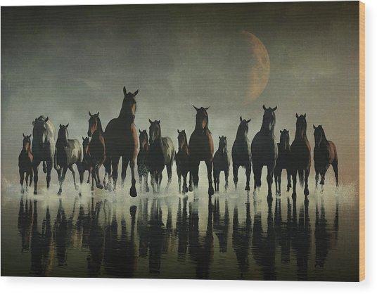 Horse Stampede In The Sea Wood Print