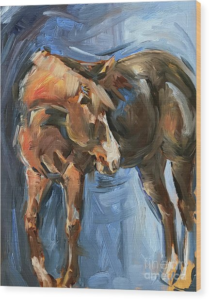 Horse Study In Oil  Wood Print
