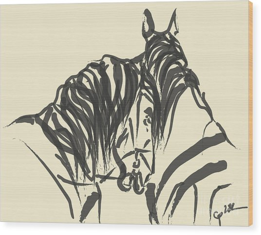 Horse - Together 9 Wood Print
