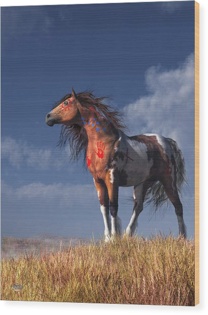 Horse With War Paint Wood Print