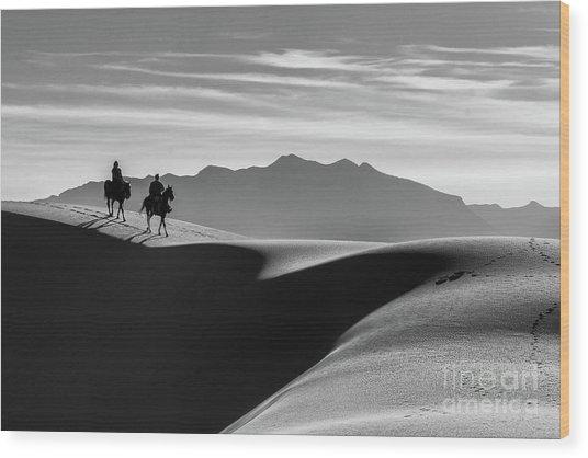 Horseback At White Sands Wood Print