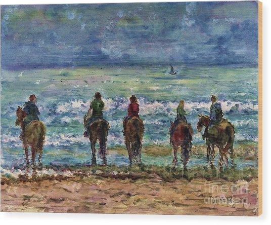 Horseback Beach Memories Wood Print