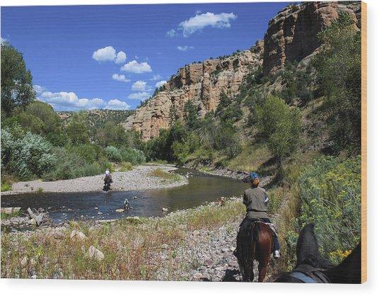 Horseback In The Gila Wilderness Wood Print