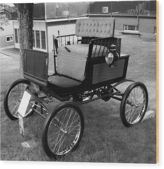 Horseless Carriage-bw Wood Print
