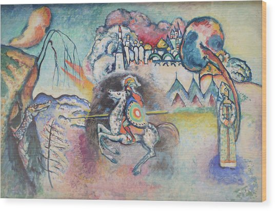 Horseman. St. George Wood Print by Wassily Kandinsky
