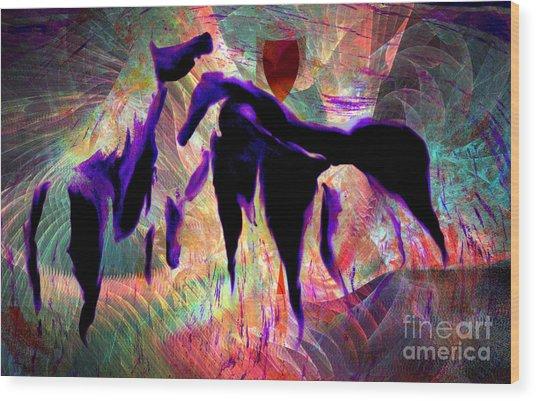 Horses 13 Wood Print