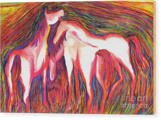 Horses 2 Wood Print by Helene Kippert