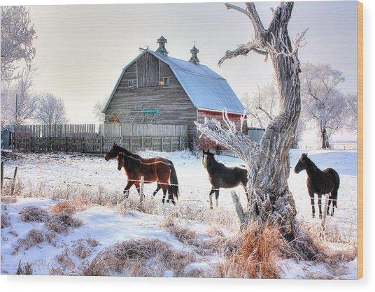 Horses And Barn Wood Print