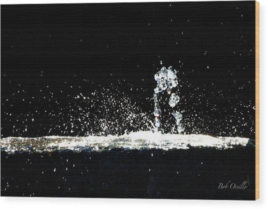 Horses And Men In Rain Wood Print