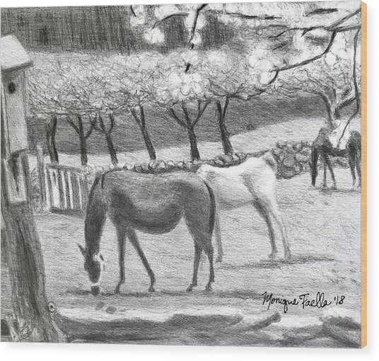 Horses And Trees In Bloom Wood Print
