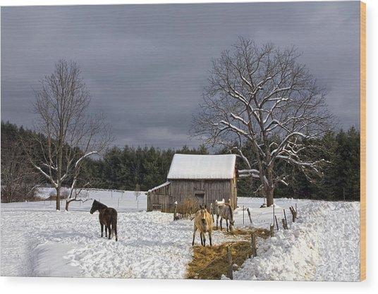Horses In Snow Wood Print