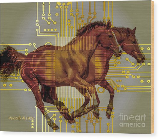 The Sound Of The Horses. Wood Print