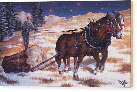 Horses Pulling Log Wood Print