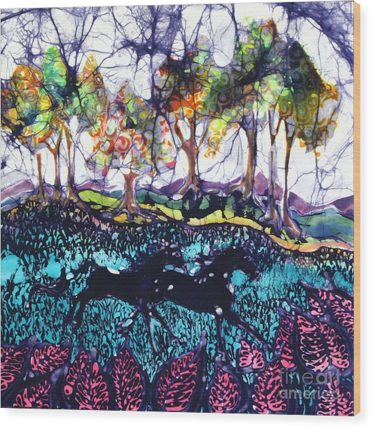 Horses Running Below Hills Wood Print