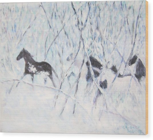 Horses Running In Ice And Snow Wood Print