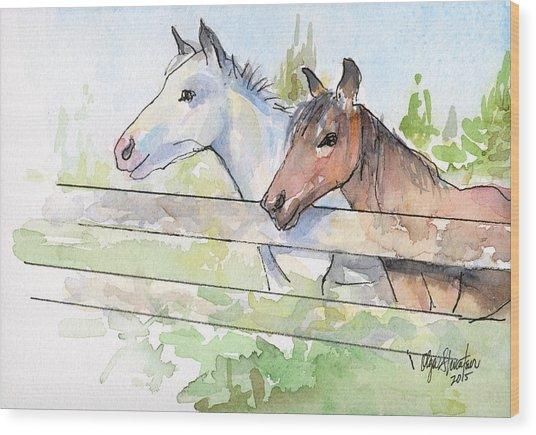 Horses Watercolor Sketch Wood Print