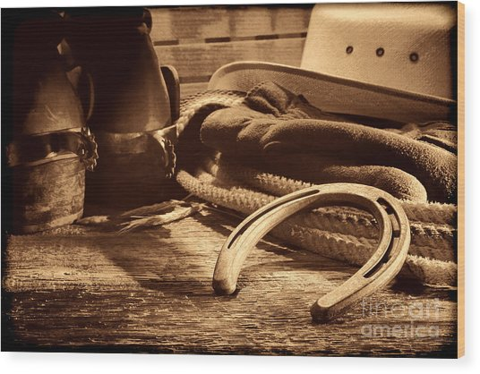 Horseshoe And Cowboy Gear Wood Print