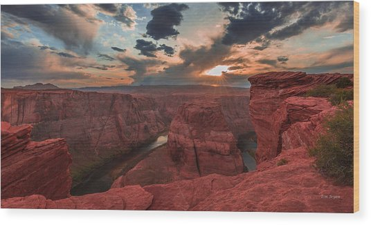 Horseshoe Bend Sunset Wood Print