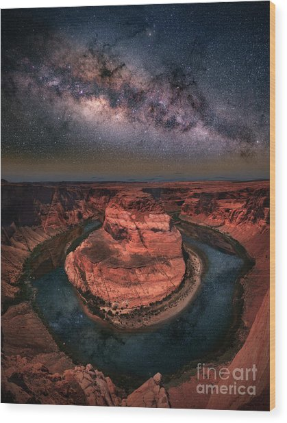 Horseshoe Bend With Milkyway Wood Print