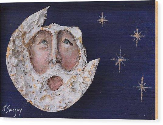 Horseshoe Crab Man In The Moon Wood Print