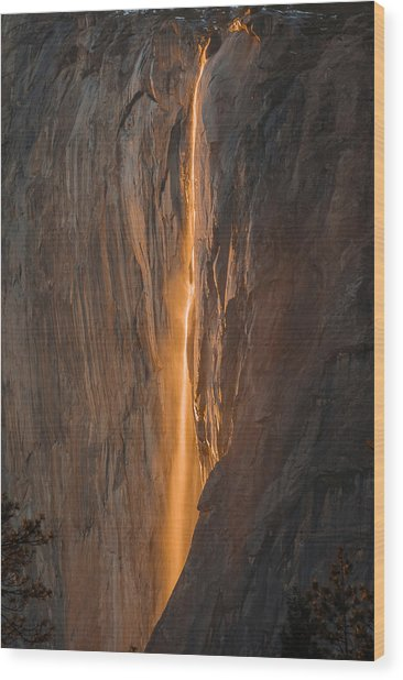 Horsetail Fall 1 Yosemite Wood Print