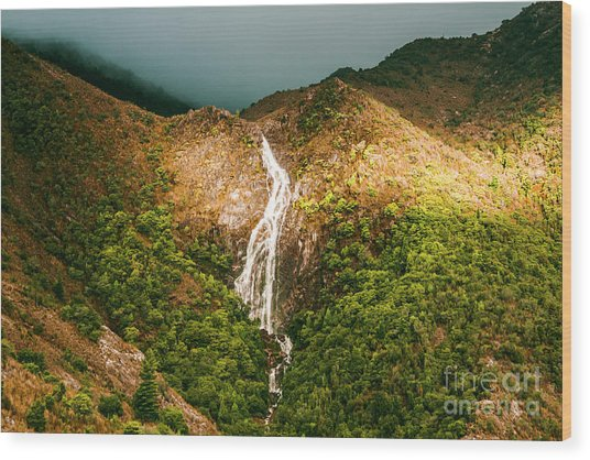 Horsetail Waterfalls Tasmania  Wood Print