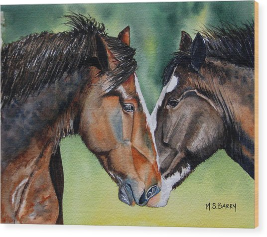 Horsing Around Wood Print by Maria Barry