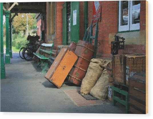 Wood Print featuring the digital art Horsted Keynes Station by Julian Perry