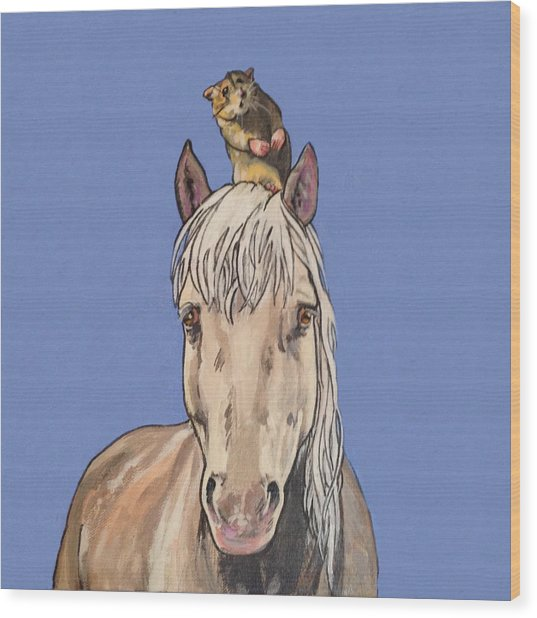 Hortense The Horse Wood Print