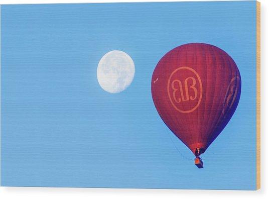 Hot Air Balloon And Moon Wood Print