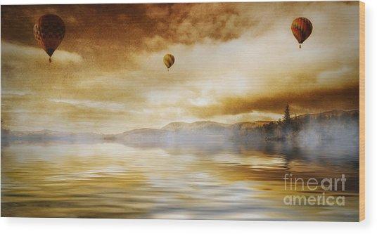 Hot Air Balloon Escape Wood Print