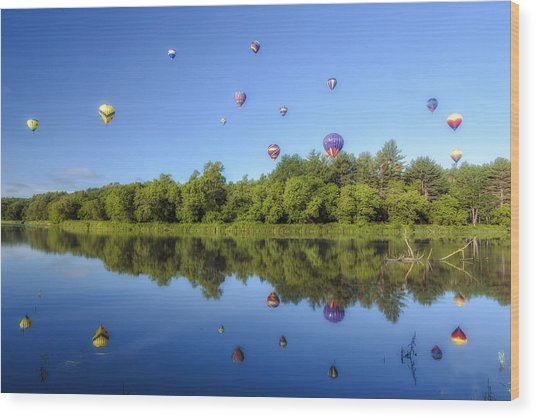 Quechee Balloon Fest Reflections Wood Print