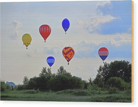 Wood Print featuring the photograph Hot Air Balloon Launch by Angela Murdock