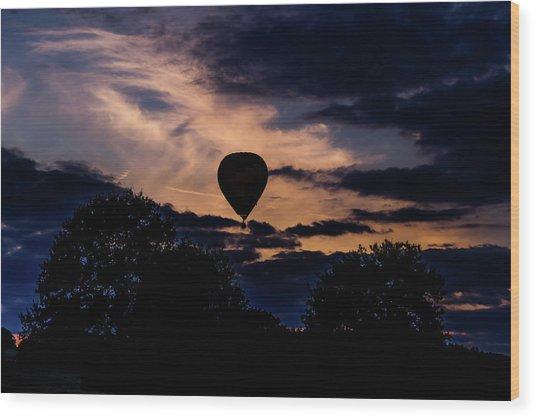Hot Air Balloon Silhouette At Dusk Wood Print