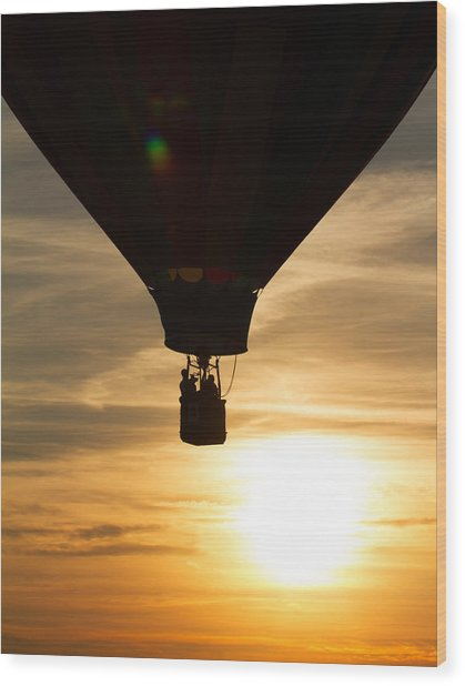 Hot Air Balloon Sunset Silhouette Wood Print