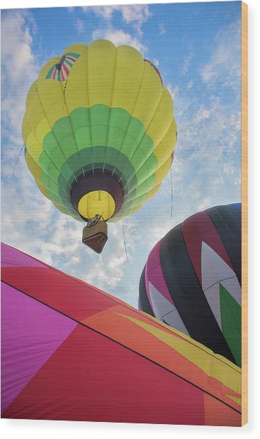 Hot Air Balloon Takeoff Wood Print